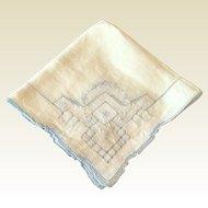 Vintage White Cotton  Handkerchief With Blue Drawn Work