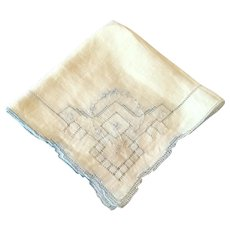 Vintage White Cotton  Handkerchief With Blue Drawn Work