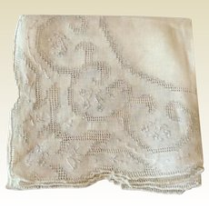 Vintage White Cotton  Handkerchief With White Drawn Work