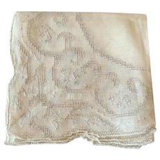 Vintage White Cotton  Handkerchief With White Drawn Work