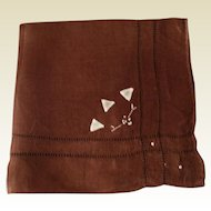 Vintage Brown Cotton Hankie With Drawn Work & Hand Embroidered