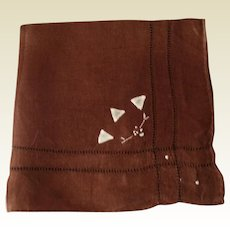 Vintage Brown Cotton Hankie With Drawn Work & Hand Embroidered