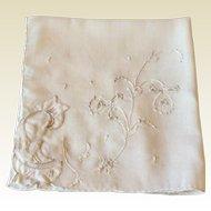 Embroidered Applied  Flower White Hankie
