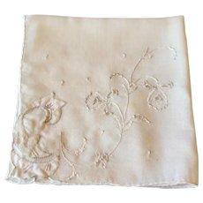 Embroidered Applied  Flower White Hankie