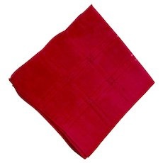 Vintage Red Cotton Hankie With Drawn Work