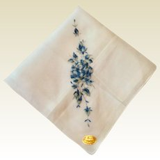 Vintage Swiss White Hankie With Blue Floral Spray