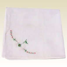 Vintage White Hankie With White Flower &  Red & Green Trim