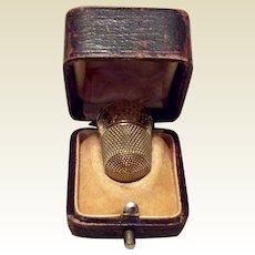 Vintage 14K Gold Thimble With Original Case Size 10