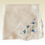 Vintage White Hankie With Blue Design