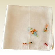 Vintage White Hankie With Orange & Green Embroidered Design