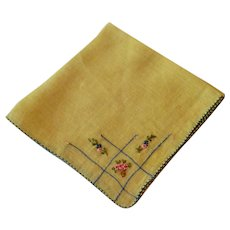 Vintage Yellow Cotton Hankie With Embroidered Flowers