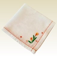 Vintage White Hankie With Yellow & Orange Embroidered Flower