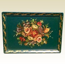Large Vintage Hand Painted Wooden Tray