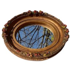 English Barbola Gesso Painted Oval Wall Mirror