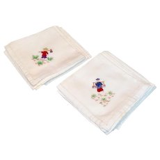 Vintage Set Of Ten Oriental Themed Hand Embroidered  Cotton Luncheon Napkins