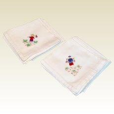 Vintage Set Of Ten Oriental Theme Hand Embroidered  Cotton Luncheon Napkins