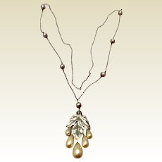 Victorian Sterling Silver Pearl Pendant Necklace