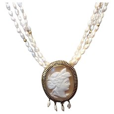 Vintage Freshwater Pearl Gold Filled & 14K Gold Conversion Cameo Brooch Pendant Necklace