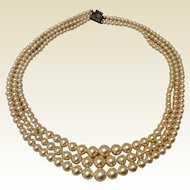 Vintage Triple Strand Graduated Faux Pearl Necklace
