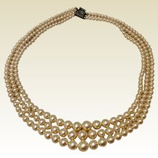 Vintage Triple Strand Graduated Faux Pearl Necklace