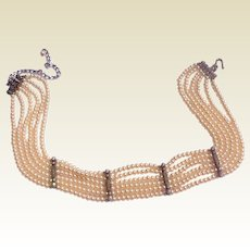 Six Strand Faux Pearl Choker Necklace With Sterling Silver Spacers With Rhinestones
