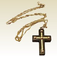 Victorian Ebony & 14K Gold Mourning Cross & Chain