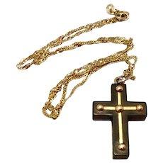 Victorian Ebony & 14K Gold Mourning Cross & Chain