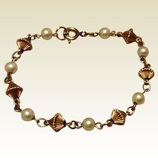 Vintage 12K Gold Filled Cultured Pearl Bracelet