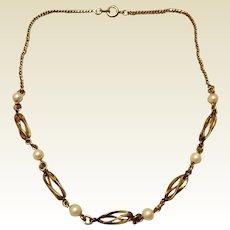 Vintage 12K Gold Filled Cultured Pearl Necklace