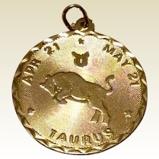 Vintage 12K Gold Filled Taurus Disc Charm
