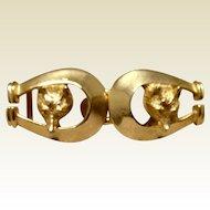 Vintage Gay Boyer Gold Tone  Metal Fox & Horseshoe Belt Buckle