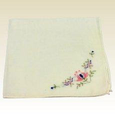 Vintage White Cotton Hankie With Embroidered Flower