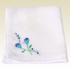 Vintage White Cotton Hankie With Blue Flowers