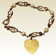 Vintage 12K Gold Filled Cultured Pearl Bracelet With Dangling Heart Charm