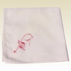 Vintage White Hankie With Pink Embroidered Flower
