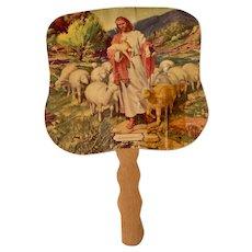 Vintage Religious Catholic Advertising Hand Fan