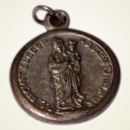 Vintage Silver Tone Metal Our Lady Of Prompt Succor Medal