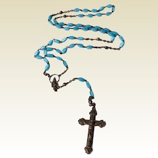 Vintage Silver Tone Metal Blue Glass Catholic Rosary