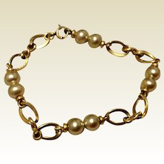 Vintage 12K Gold Filled Cultured Pearl Bracelet