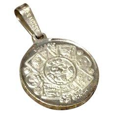 Vintage Sterling Silver Mexican Aztex Calendar Charm Pendant
