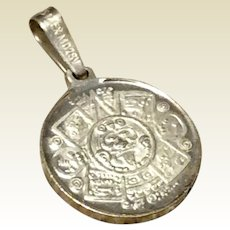 Vintage Sterling Silver Mexican Aztex Calendar Charm Pendant