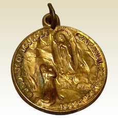 Vintage Gold Tone Metal Our Lady Of Lourdes Centennial  Medal