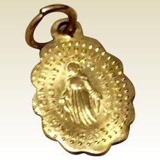 Vintage Gold Tone Metal Miraculous Medal