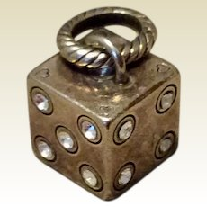 Vintage Sterling Silver Lucky Dice Charm