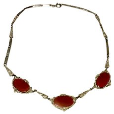 Vintage Art Deco Germany Rhodium Plated Carnelian Glass Necklace