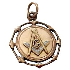 Vintage Masonic Gold Filled Enameled Two Sided Fob