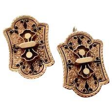 Vintage 10K Gold Black Enamel Cuff Link Earrings