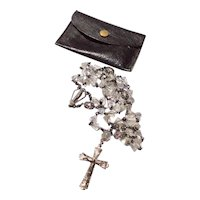 Creed Sterling Silver & Faceted Crystal Rosary Necklace With Leather Case
