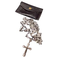 Vintage Creed Sterling Silver & Faceted Crystal Rosary Necklace With Leather Case