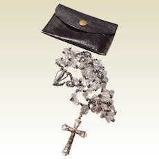 Vintage Creed Sterling Silver & Faceted Crystal Rosary With Leather Case